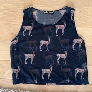 Animal Print Sheer Black Top
